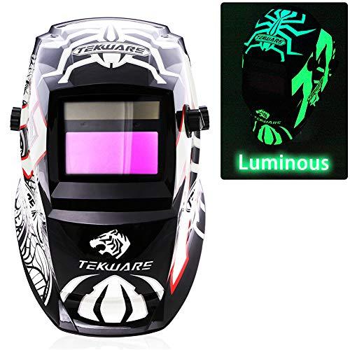 JSungo Welding Helmet Solar Powered Luminous Auto Darkening Weld Hood with An Extra Clear Lens Variable Shade Range 49-13 for TIG MIG Arc Welder Mask Spider