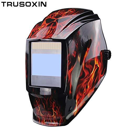 MJCDHMJ welding Interchangeable Battery 4 Arc Sensor Large Vision Solar Auto DarkeningShading Grinding Polish Welding Helmet Welder Glasses Mask Color  H-1
