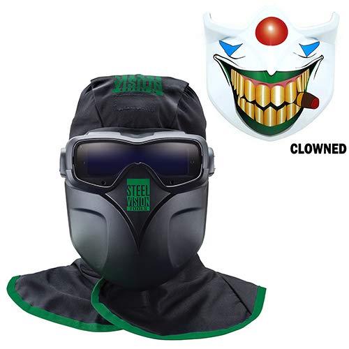 Steel Vision 32000 Auto Darkening Welding Helmet Mask Kit - Welding Goggles Mask Hood Bump Cap  Clowned Face Plate