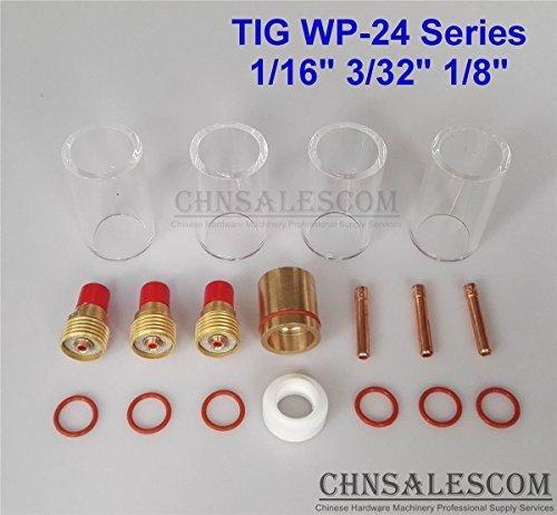 CHNsalescom 18 pcs TIG Welding Gas Len 12 42mm Pyrex Glass Cup Kit WP-24 116 332 18