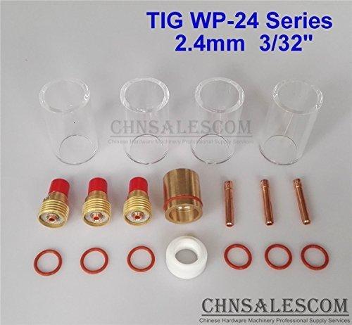 CHNsalescom 18 pcs TIG Welding Gas Len 12 42mm Pyrex Glass Cup Kit WP-24 Series 24mm 332
