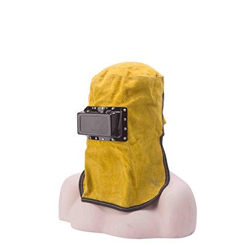 Mufly Comfortable Welding Mask Automatic Light Lenses Hood Hat and ShawlCowhide Split Leather Welding Helmet Welding Protective GearHeat ResistantYellow