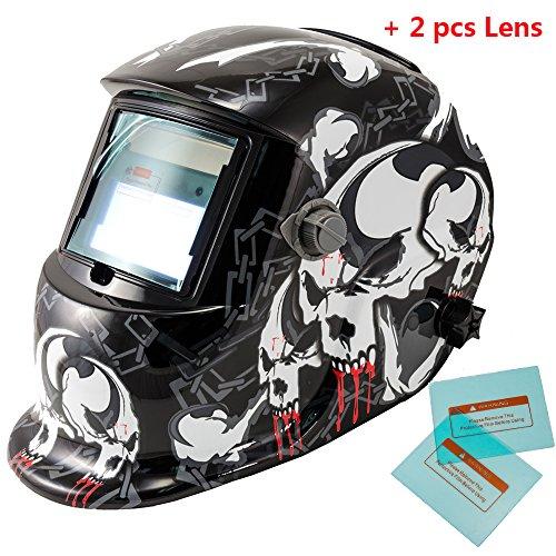 iMeshbean Pro Adjustable Cool Skull Solar Auto-Darkening Welding Grinding Helmet  Extra Lens Covers ANSI Certified Model1043 USA