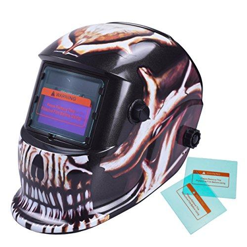 iMeshbean Pro Silver Skull Style Solar Auto-Darkening Welding Grinding Helmet  2 pcs Extra Lens Covers ANSI Certified Model1052 USA
