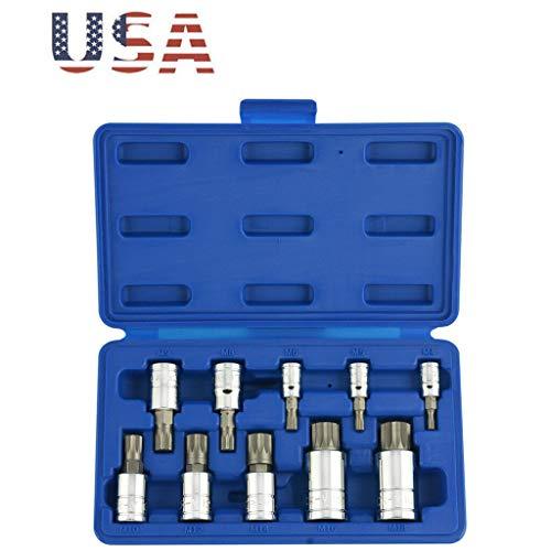 DSA Trade Shop 10pc 12 Point MM Triple Square Spline Bit Socket Set WTamper-Proof Case