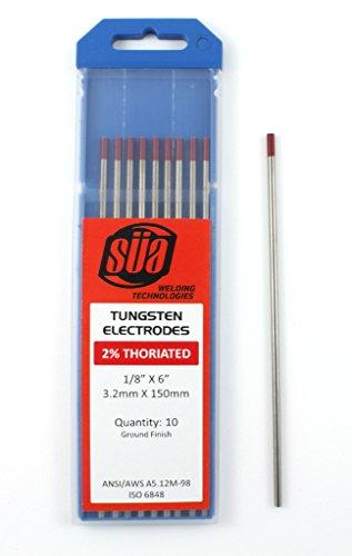 """Tungsten Electrodes 2 Thoriated red tip 18"""" X 6"""" 10 pkg - SÜA"""