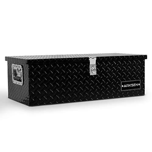 ARKSEN 30 Inch Heavy Duty Aluminum Truck Pick Up Tool Box TruckBed Trailer RV Storage Organizer Lock with keys Black