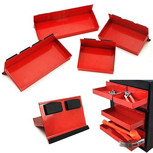 Extech 4pc Magnetic Toolbox Tray Set Tool Box Cabinet Side Shelf Storage Van Workshop