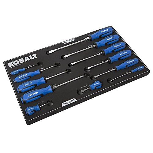 Kobalt 12-Piece Variety Pack Screwdriver Set With EVA Foam Tool Box Tray