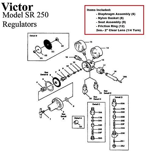 Victor 250-80-540 Oxygen Regulator RebuildRepair Parts Kit w Diaphragm