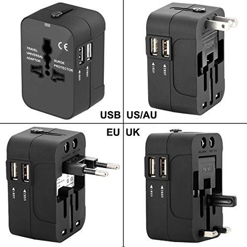 International Travel Power Adapter KitWacye Universal World Power Adapter Converter AC Power Plug Adapter for Europe USA UK AUS Asia Black2 USB