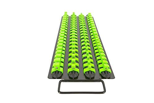 Olsa Tools  Socket Organizer Tray  Black Rails with Green Clips  Holds 80 Pcs Sockets