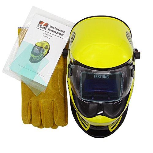 Doitpower Solar-powered Auto-darkening Welding Helmet with 4 Arc Sensors Two Shade Ranges 5-89-13 Suede Safety Work Welding Glove Included