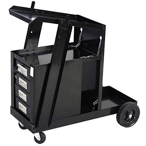 Goplus Welder Cart MIG TIG ARC Welding Plasma Cutter Tank Storage w2 Safety Chains 100 Lb Capacity Portable 4-Drawer Cabinet