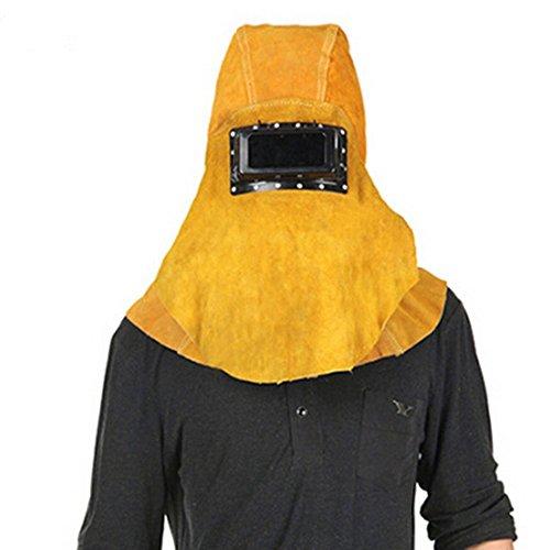 Joyutoy Yellow Head Mounted Flip 3 in 1 Cowhide Split Leather Welding Helmet Face Mask Hood Hat And Shawl