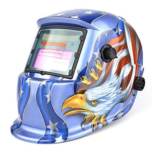 Solar Powered Welding Helmet Auto Darkening Hood with Adjustable Shade Range 49-13 for Mig Tig Arc Welder Mask Blue Eagle Design