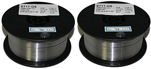 2 Rolls of ER71T-GS Flux-Core Gasless Mild Steel MIG Welding Wire 0035 2-lb Spool