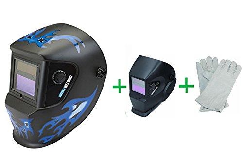 Chicago Electric WeldingAuto Darkening Welding Helmet with Blue Flame Design Adjustable Shade Auto-Darkening Welding Helmet  Hardy Leather Welding Gloves 3 Pr