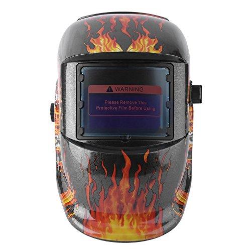 Solar Power Auto Darkening Adjustable Shade Range TIG MIG MMA Electric Welding Mask Helmet Solder Cap Flaming Skull