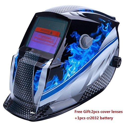 Z ZTDM Welding Helmet Mask Solar Auto DarkeningAdjustable Shade Range DIN 9-13Rest DIN 4Welder Protective Gear ARC MIG TIG2pcs Extra LensCR2032 BatteryCE EN379 ANSI Z871 Approved Blue Racer