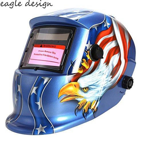 Welding Helmet Solar Automatic Darkening Welding Hood Helmet Arc Tig Mig Professional Mask with Adjustable Shade Blue Eagle Design US STOCK