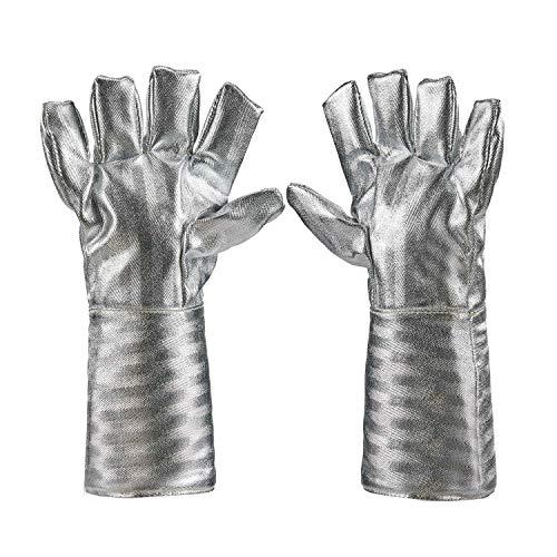 Holulo High Temperature Kevlar Aluminized Glove Heat Resistant Glove Welding Gloves Safety Work Glove L-38cm