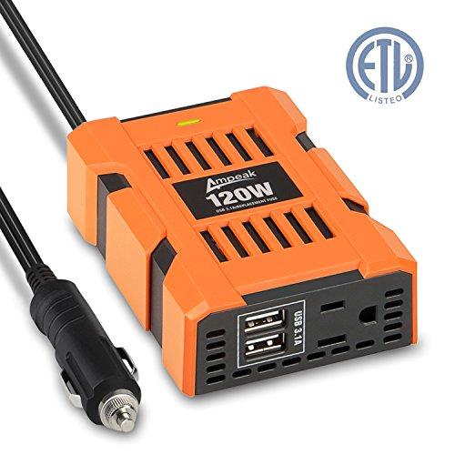 Ampeak 120W Power Inverter DC 12V to 110V AC Inverter Car Charger with 31A Dual USB Converter