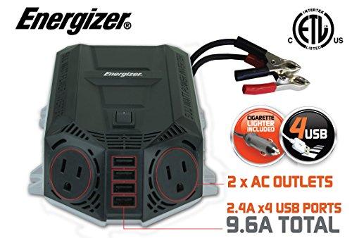 ENERGIZER 500 Watt Power Inverter 12V DC to AC  4 x 24A USB charging ports Total 96A