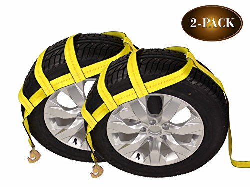 DC Cargo Mall Tow Dolly Basket Straps with Twisted Snap Hooks  2-Pack  Car Wheel Straps for Auto Hauling