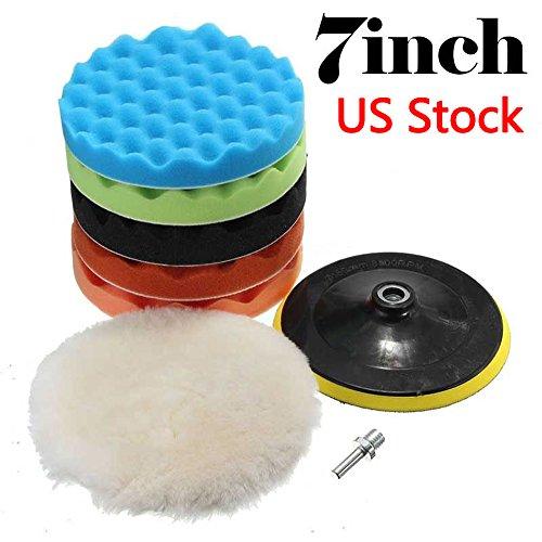 LEAGUE&CO 7pcs 7 Inch Polishing Waxing Buffing Pad Sponge Kit Set for Car Polisher 7 inch