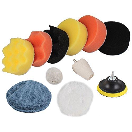 PROMMON 4100mm Sponge Buff Polishing Pad Waxing Buffing Pads  Polishing Mop Set Compound Drill Adapter Kit for Car Polisher Car Sanding Polishing Pack Of 11Pcs