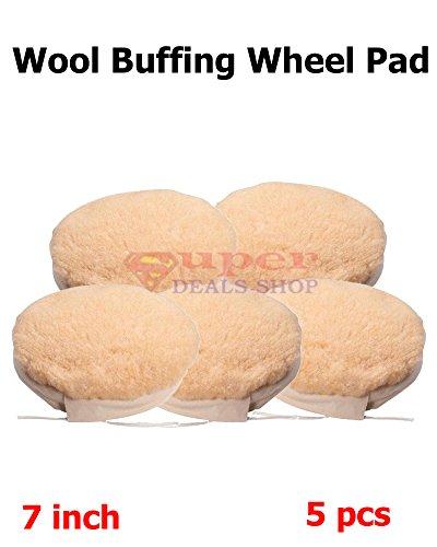 5 Piece 7 inch Wool Buffing Wheel Pad Polishing Polishing Bonnet Pads Car Polisher Pads Polishing Pad Sets Woolen Polishing Waxing Pads Kits Super-Deals-Shop