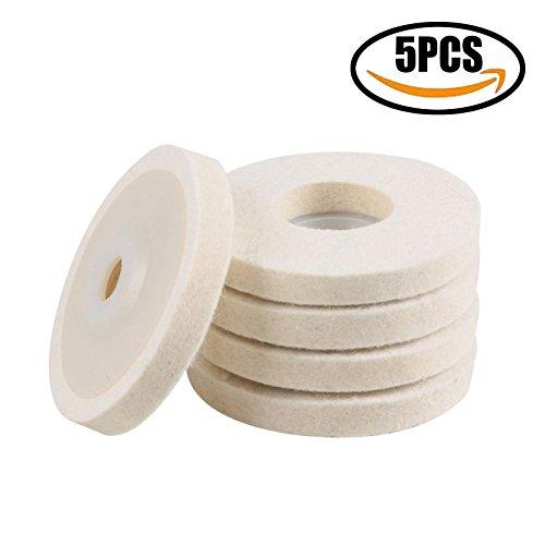 ZFE 5Pcs 4 inch100mm Round Felt polishing wheel Polishing wheel Wool FELT polishers Polishing Pads felt buffing wheel Sets