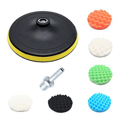 Yohii 7Pcs Buffing Pads Kit 7 Inch Buffing kit with 6 Polishing pad Wool Buffing Pad Backing Plate