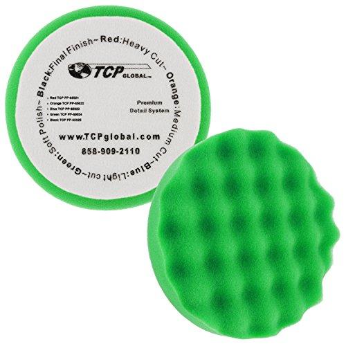 65 Green Waffle Soft Polishing Grip Foam Polish Pad - DA Hook Loop