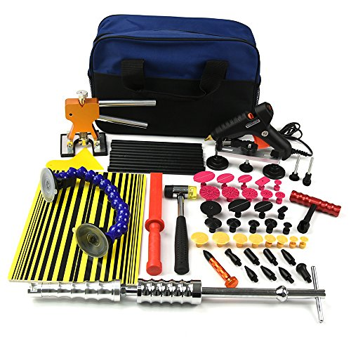 Wcaro 60pcs PDR Tools Auto Paintless Dent Repair Tools Kit Dent Removel Kit Slide Hammer PDR Door Ding Hail Repair Tool Car Dent Repair Kit Dent Remover with Bridge Puller Pdr Glue Puller Line Board