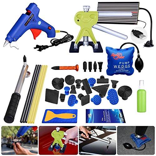 AUTOPDR 36Pcs DIY Car Body Paintless Dent Removal Kit Tools for Hail Damage Car Dent Remover Kit Slide Hammer Hot Glue Gun Sticks Air Wedge Pump