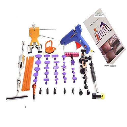 GS PDR 51pcs Auto Paintless Dent Repair Tools Include Glue Gun Dent Puller Slide Hammer Dent Lifter 24pcs Different Size Dent Tabs Bridge Puller Car Repair Body Fix Tools Dent Removal Kit