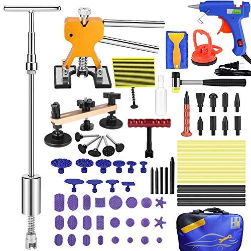 Henergy Auto Body Paintless Dent Repair Removal Tool Kits 82pcs Dent Lifter Bridge Puller Hot Melt Glue Gun Glue Pulling Tabs with Tools Bag
