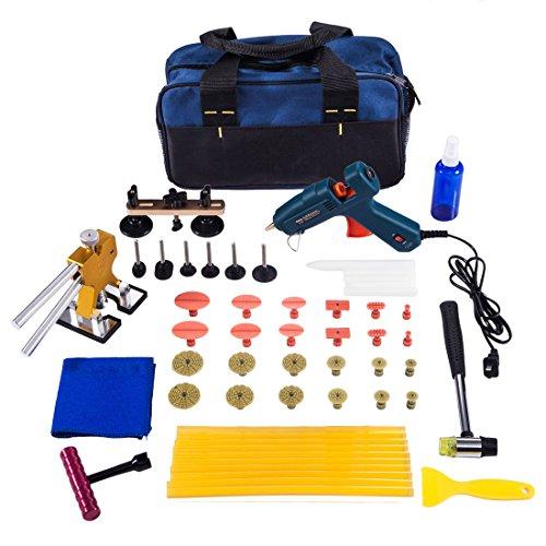 Zafit 55pcs Auto Paintless Dent Removal Kits PDR Tools Dent Repair Tools Rubber Hammer Golden Dent Lifter Glue Gun Glue Sticks