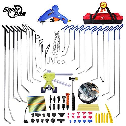 Super PDR Dent Repair Rod 79pcs Dent Removal Tools Paintless Dent Repair Tool Hail Removal Dent Puller Tap Car Ding Dent Repair Kit Rod Hook Wedge for Auto Body Dent Repair Tools