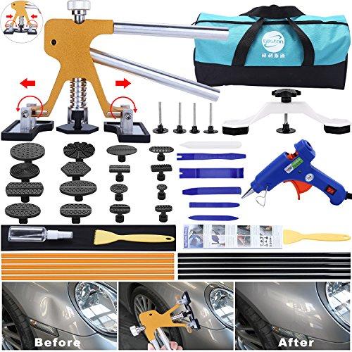 GLISTON 45pcs Paintless Dent Repair Tool Dent Puller Kit Adjustable Width Pops a Dent Car Dent Removal Kit Golden Lifter Bridge Puller& Glue Gun for Automobile Body Motorcycle Refrigerator