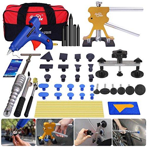 Super PDR Paintless Dent Repair PDR Tools Car Dent Puller kit Dent Bridge Puller Kit Golden Dent Lifter with Hot Melt Glue Gun Glue Sticks for Car Body Dent Repair