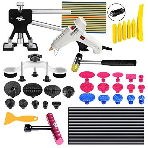 FLY5D 49Pcs Car Body Paintless Dent Repair Tools Set Kits Puller Lifter Hail Slide Hammer Glue Gun Stick
