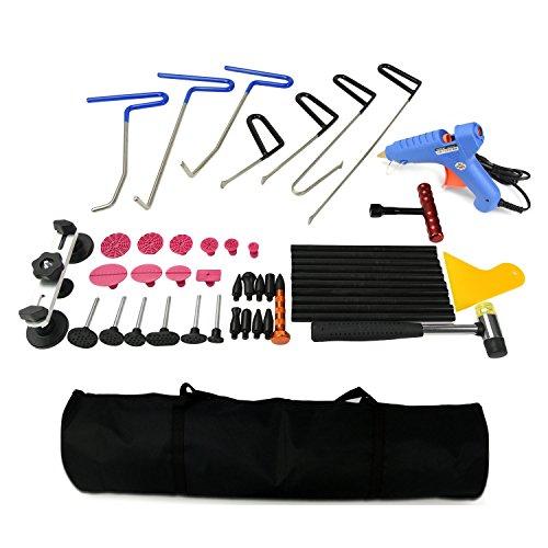 PDR Kit Paintless Dent Puller Kit with PDR Rods Hail Damage Repair Kit Car Dent Remover Kit PDR Glue Kit