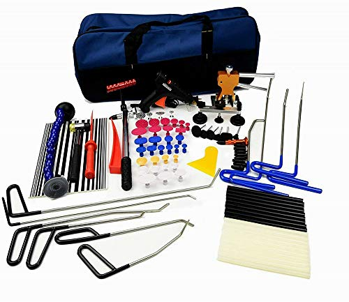 Skroutz Paintless Dent Removal Repair Tools Kits Auto Puller Kit With Rods Dent Lifter Glue Pulling Tabs Line Board Auto Dent Remover Door Ding Repair Kit