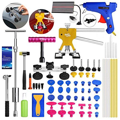 AUTOPDR 68Pcs DIY Car Body Paintless Dent Remover Removal Tools Kit for Hail Damage And Door Dings Repair Kit Dent Puller Set Hot Melt Glue Gun Sticks