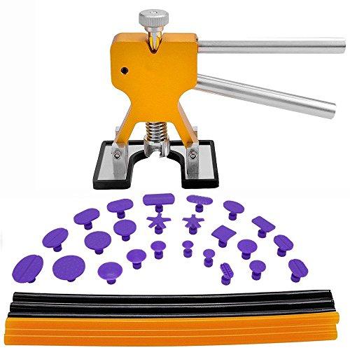 GLISTON Dent Puller Tools 31pcs Paintless Dent Repair Tools Kit Paintless Dent Removal Golden Dent Lifter  paintless Glue Sticks  Glue Tabs Auto Body Dent Removal Tools Car Dent Removal Tool Kit