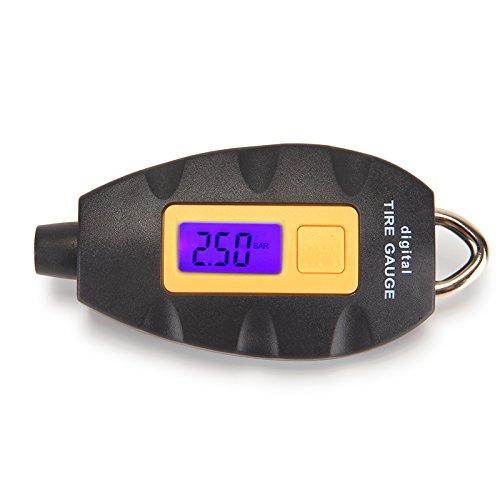 Digital Tire Pressure GaugeLED Flashlight Display 100 PSI Keychain Style Mini Tire Pressure Gauge Meter for Car Truck Bicycle Air Pressure Tire Tyre Gauge Tester Tool Black