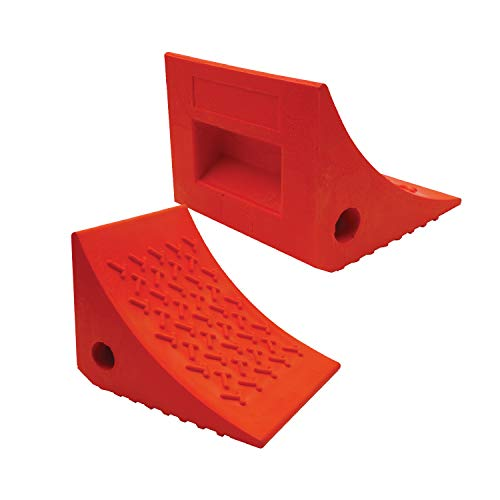 SECURITYMAN 2 Pack Wheel Chocks - Constructed of Heavy Duty Solid Rubber for 20000 lbs of RV Trailer Truck Camper - Perfect on All Surfaces and in All Weather - Orange